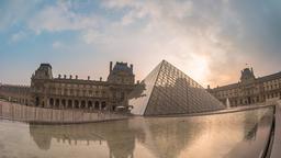 Paris France time lapse 4K, Louvre Museum Pyramid timelapse Footage