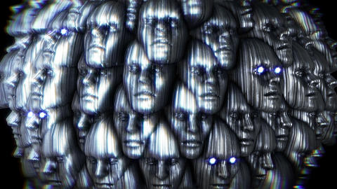 Abstract metallic live form with faces. Sci-fi seamless background Animation