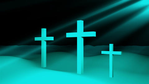 Three christian crosses are on ground and sun rays, resurrection Easter Footage