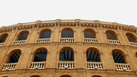 Spanish-style bullfighting facade in Valencia, Spain Live Action