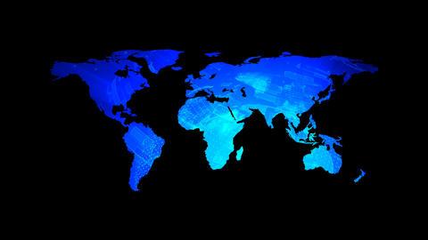 Global technology world map with digital decoration, flat Earth, globe worldmap Footage