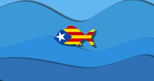 independence Catalonia fish concept freedom from Spain Animation