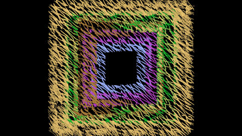 Grunge doodle multicolored fantasy, doodle squares in vertical rotation Animation