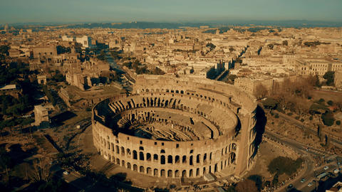 Aerial shot of the Colosseum, the most visited landmark of Rome, Italy Footage