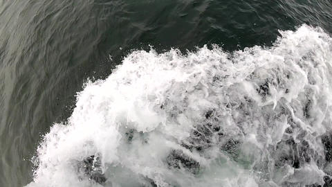 Closeup of Water Pushed From Bow of Boat Footage