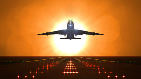 Big airplane departs from airport runway against large sunset or sunrise Animation
