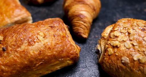 Puff pastry, croissants and chocolate filled dough Footage