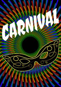 Carnival multicolored background with decorated mask and white lettering ベクター