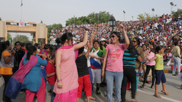 Ladies and girls dance at wagah border ceremony,Wagah,India Footage