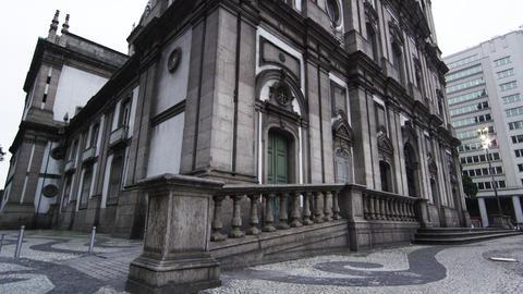 Tilt shot of an old, historical building in Rio d Janeiro, Brazil Footage