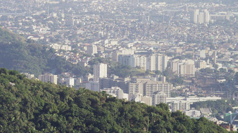 Slow pan of hills and homes near Maracanã stadium Footage