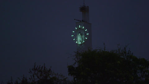 Shot of a clock tower at night in Rio de Janeiro, Brazil Footage