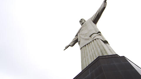 Tilt pan of the statue of Christ on Corovado Mountain in Rio Footage