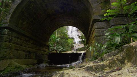 Tracking shot of jungle stream, waterfall, and stone bridge Footage