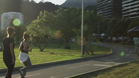 Slow-motion tracking shot of people walking on a path beside Lagoa Footage