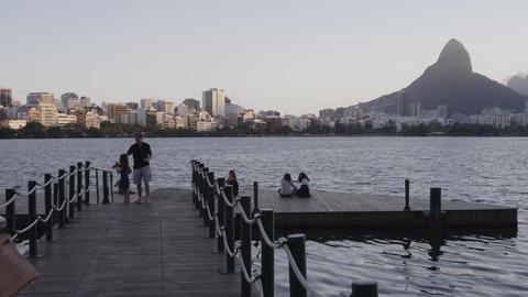 RIO - JUNE 18: People on a lake dock on June 18, 2013, in Rio de Janeiro Footage