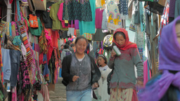 Clothes shops on steep road,Leh,India Footage