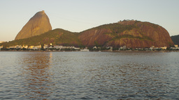 Static shot of Guanabara Bay in Rio de Janeiro with mountains in the distance Footage