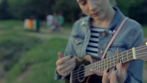 Girl And Ukulele stock footage