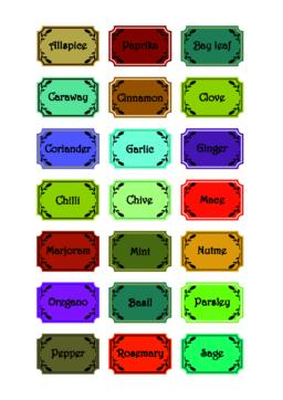 Set of spice labels in retro style, different colors, spice titles in frame with Vector