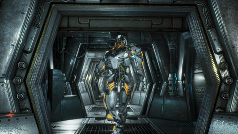 Robot soldier runs through a futuristic Sci-Fi tunnel with sparks and smoke GIF