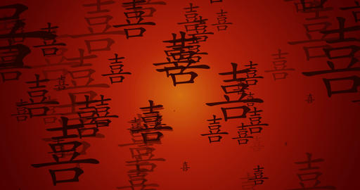 Happiness Chinese Calligraphy Auspicious Blessings as a Background Footage
