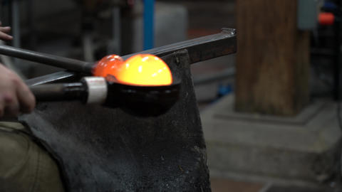 Red-Hot Ball of Glass is Rolled and Cooled in Preparation for Blowing 4K Footage