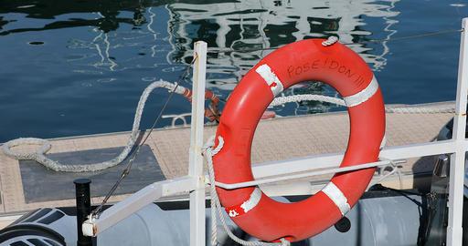 Orange Lifebuoy On Sailing Boat Footage