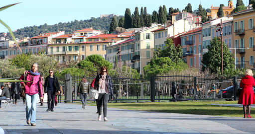 People Walking Through Park In Nice France Live Action