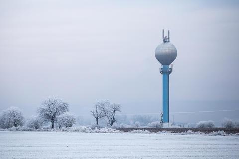 Water reservoir in a winter landscape Photo