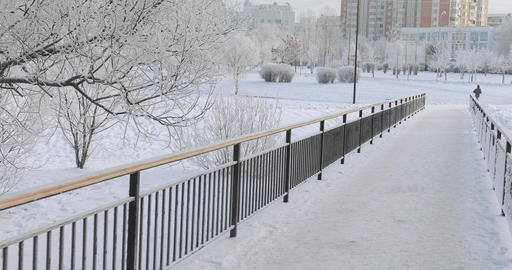 Staircase and metal fence in winter Live Action