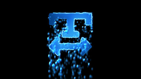 Liquid symbol text width appears with water droplets. Then dissolves with drops Animation