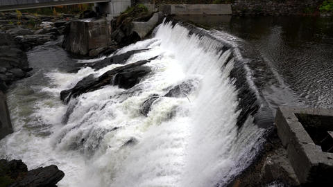 Slow Motion - Water Rushes Over Small Hydro Electric Dam in Vermont 4K Live Action