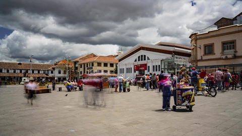 October 9 Plaza, Cuenca, Ecuador - Aug 23, 2018 - Time - lapse of daily acti Live Action