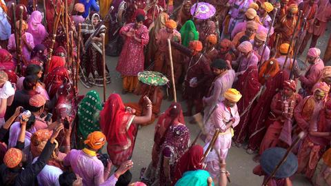 Barsana, India - 20180225 - Lathmar Fest - Women Beat Men - Many Women Beat O Footage