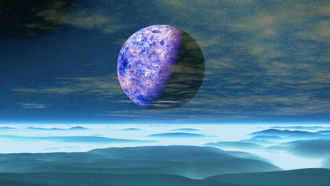 Purple Moon over Blue Planet Animation
