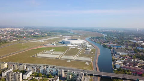 Kaliningrad, Russia. General panorama with a stadium, From Drone ビデオ