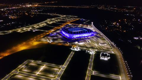 Russia, Kaliningrad. Aerial night view stadium Kaliningrad - football stadium in Live Action