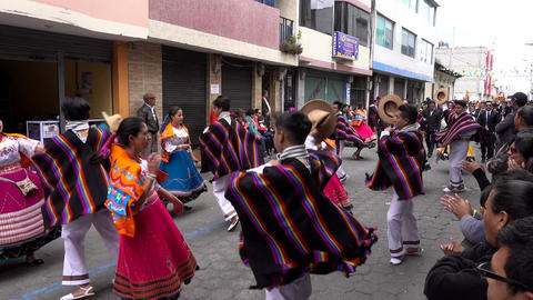 Latacunga, Ecuador - 20180925 - Couples Dance in Mama Negra Parade Footage
