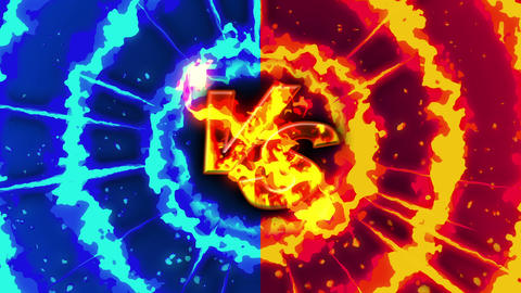 Cartoon fire animation. Flame loop background. Competition. Battle game. Versus Animation