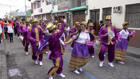 Latacunga, Ecuador - 20180925 - Couples in Purple Dance in Mama Negra Pa Footage