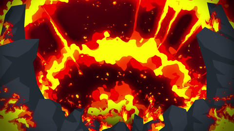 Cartoon fire animation. Flame loop background.... Stock Video Footage