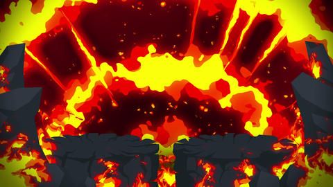 Cartoon fire animation. Flame loop background. Competition. Battle game Animation