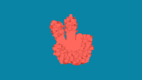 Behind the squares appears the symbol hand peace. In - Out. Alpha channel Animation