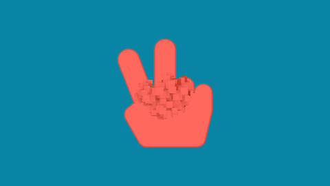 Behind the squares appears the symbol hand peace. In -… Stock Video Footage