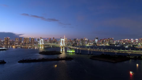 TimeLapse - Urban landscape in the evening of Tokyo Zoom out Footage