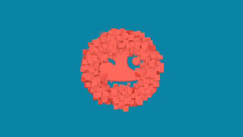 Behind the squares appears the symbol grin tongue wink. In - Out. Alpha channel Animation