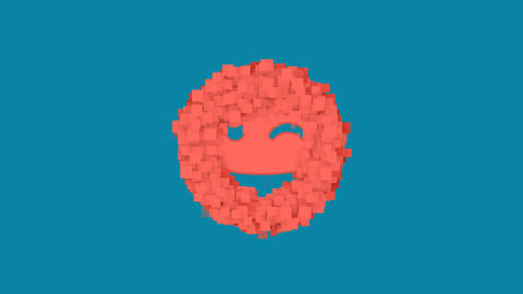 Behind the squares appears the symbol grin wink. In - Out. Alpha channel Animation