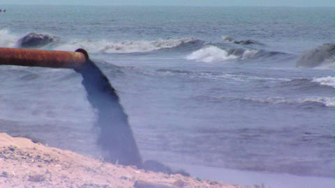 Raw sewage pouring into the ocean Footage