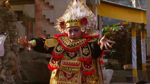 Young boy doing a native dance in Bali Footage
